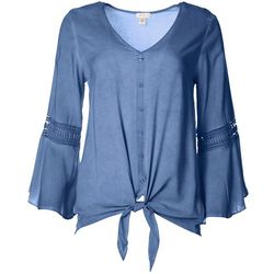 Spense Womens Solid Tie Front Bell Sleeve Top