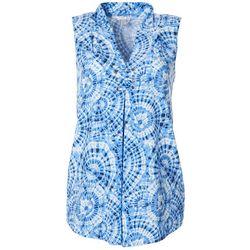 Spense Womens Circle Tie Dye Print Sleeveless Top