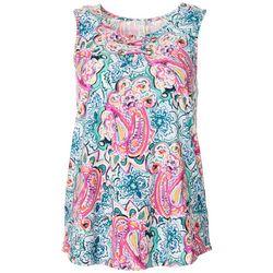 Womens Colorful Paisley Print Sleeveless Top