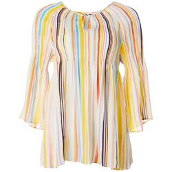 Spense Womens Stripe Print Bell Sleeve Keyhole Top