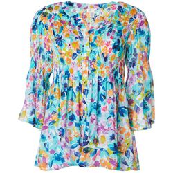 Spense Womens Painted Floral Print Smocked V-Neck Top