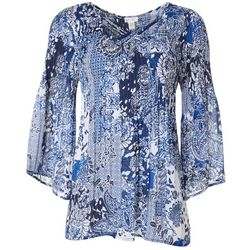 Spense Womens Floral Paisley Print Lattice Neck Pleated Top