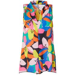 Spense Womens Colorful Floral Print V-Neck Sleeveless Top