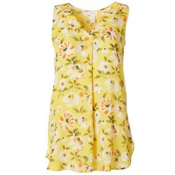 Spense Womens Floral Print V-Neck Sleeveless Top