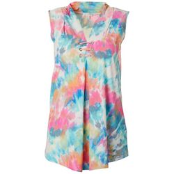 Spense Womens Colorful Tie Dye Print Sleeveless Top