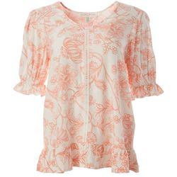 Spense Womens Floral Ruffle Sleeve V-Neck Top