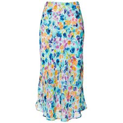 Spense Womens Painted Floral Lined Skirt