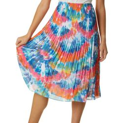 Spense Womens Tie Dye Pleated Skirt