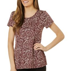 Como Voyage Womens Swirl Print Round Neck Short Sleeve Top