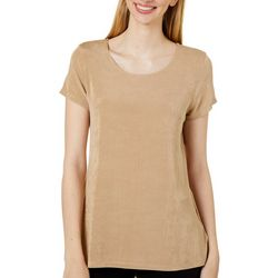 Como Voyage Womens Graphic Line Round Neck Short Sleeve Top