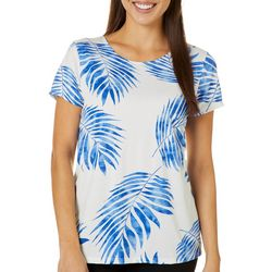 Como Voyage Womens Palm Leaf Round Neck Short Sleeve Top