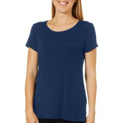 Como Voyage Womens Solid Round Neck Short Sleeve Top