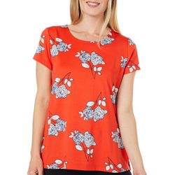 Como Voyage Womens Rose Print Round Neck Short Sleeve Top