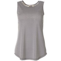 Como Voyage Womens Sleeveless Geometric Dotted Print Top