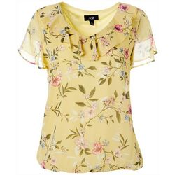 AGB Womens Floral Print Flutter Sleeve Top