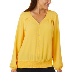 AGB Womens Solid Faux Button Smocked Hem Top