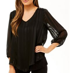 AGB Womens Solid Satin Accent V-Neck Top