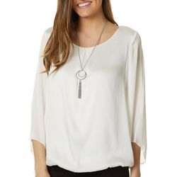 AGB Womens Solid Satin Bell Sleeve Top