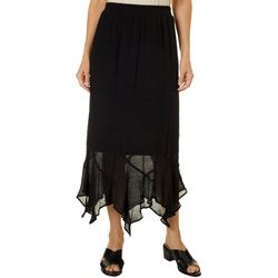 AGB Womens Solid Banded Waist Handerchief Skirt