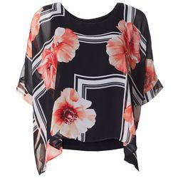 AGB Womens Floral Stripe Pop Over Top