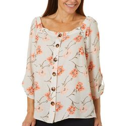 AGB Womens Floral Print Button Down Square Neck Top