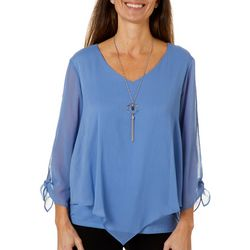 AGB Womens Solid V-Neck Tie Sleeve Top