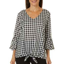 AGB Womens Plaid Tie Front Top