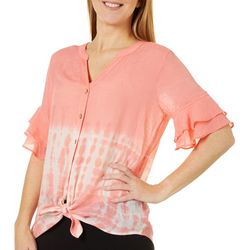 AGB Womens Tie Dye Button Down Tie Front Top