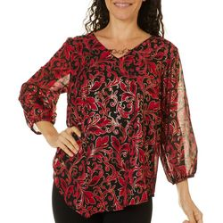 AGB Womens Scroll Print V-Neck Top