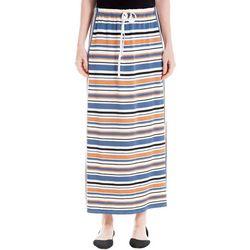 Max Studio Womens Striped Drawstring Waist Skirt