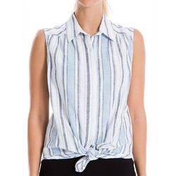 Max Studio Womens Striped Tie Front Sleeveless Top
