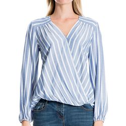 Max Studio Womens Striped Faux-Wrap Long Sleeve Top