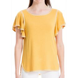 Max Studio Womens Embroidered Solid Flutter Sleeve Top