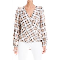 Womens Plaid Hi Low Wrap Top