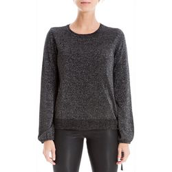 Max Studio Womens Metallic Side Tie Sweater