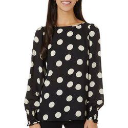 Max Studio Womens Dot Print Long Sleeve Top
