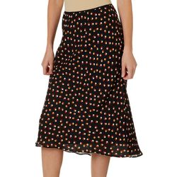 Womens Polka Dot Printed Midi Skirt