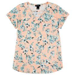 Nue Options Womens Flowery Cap Short Sleeve Shirt