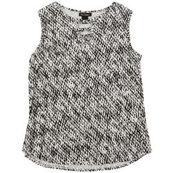 Nue Options Womens Black And White Printed Sleeveless Top