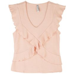 American Rag Womens Ruffle Knit Sleeveless Top