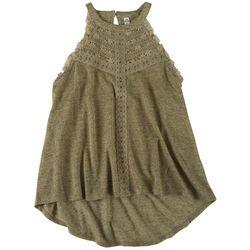 American Rag Womens Solid Crochet Sleevless Top