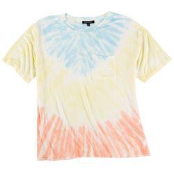 Double Zero Womens Rainbow Tie-Dye Short Sleeve Top