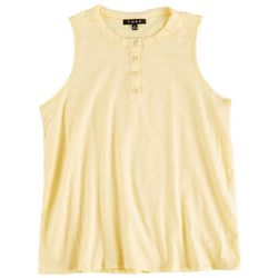 Fore Womens Solid Tank Top With Buttons