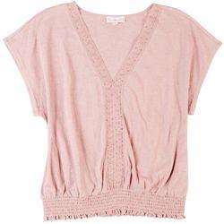 Love & Promises Womens Crocheted Neck Detai Top
