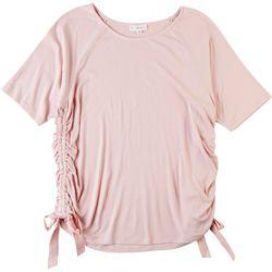 Love & Promises Womens Side Tie Short Sleeve Shirt