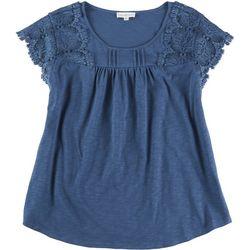 Love & Promises Womens Crochet Short Sleeve Top