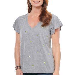 Democracy Womens Embroidered Lemon Short Sleeve Top