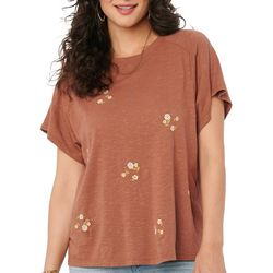 Democracy Womens Floral Embroidered Short Sleeve Top