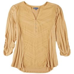 Democracy Womens Ruched 3/4 Sleeve Top