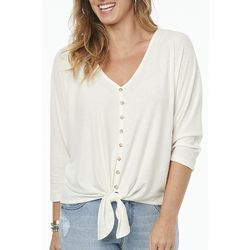 Democracy Womens Tie Front Button Placket Top